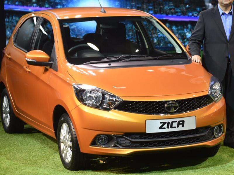 The country's biggest carmaker Tata Motors showed off a slew of new models , including two forthcoming SUVs and the Zica hatchback (in picture), which it plans to rename following the spread of the Zika virus.  (Ravi Choudhary/HT Photo)