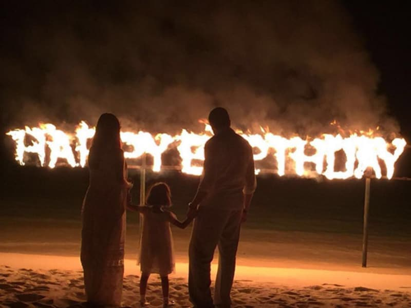 A rather fiery birthday for Abhishek: The actor shared this picture with Aaradhya and Aishwarya.  (Instagram)