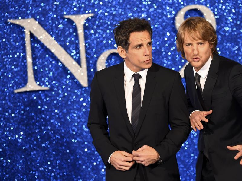 Owen Wilson and director/star Ben Stiller do the duckface for photographers at the screening of Zoolander 2 in London. (REUTERS)