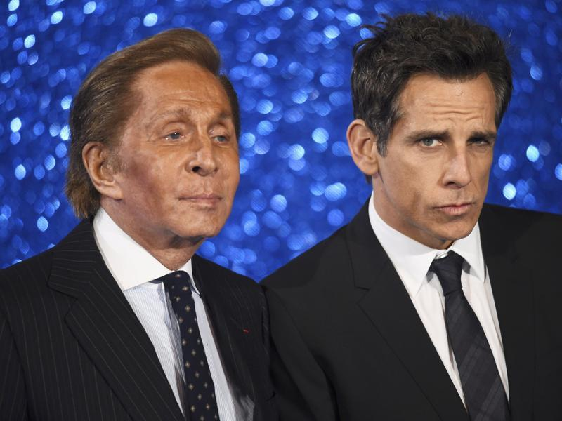 Director/star Ben Stiller and designer Valentino at the London premiere of the comedy sequel Zoolander No 2. (REUTERS)