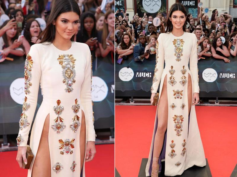 Kendall Jenner at the VMAs: And speaking of thigh splits, Kendall went for one of the highest on record in this Nicolas Jebran frock. Again, we have a lot of questions about underwear/dress strategics here. (Instagram/ Pinterest)
