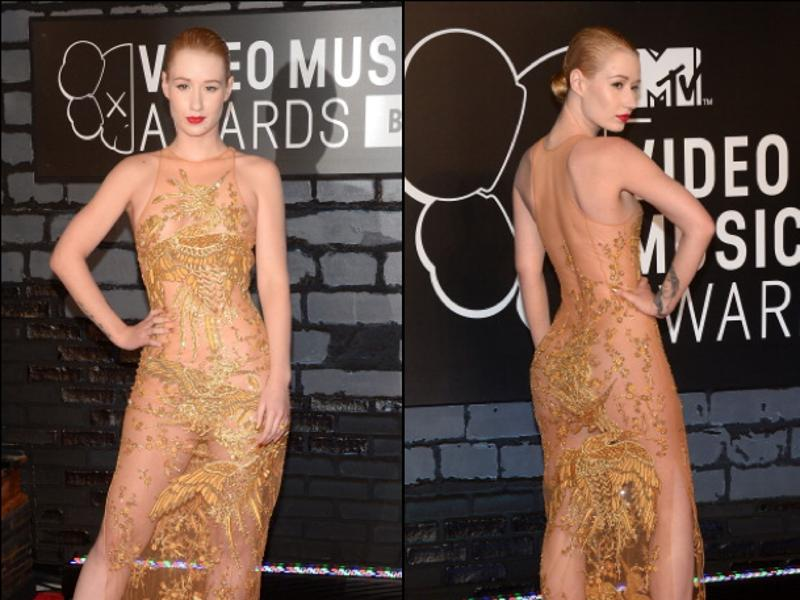 Iggy Azalea at the MTV Video Music Awards: We feel like this dress did originally have an underslip, but Iggy thought 'to hell with that, I'm going sheer.' (Instagram/ Pinterest)