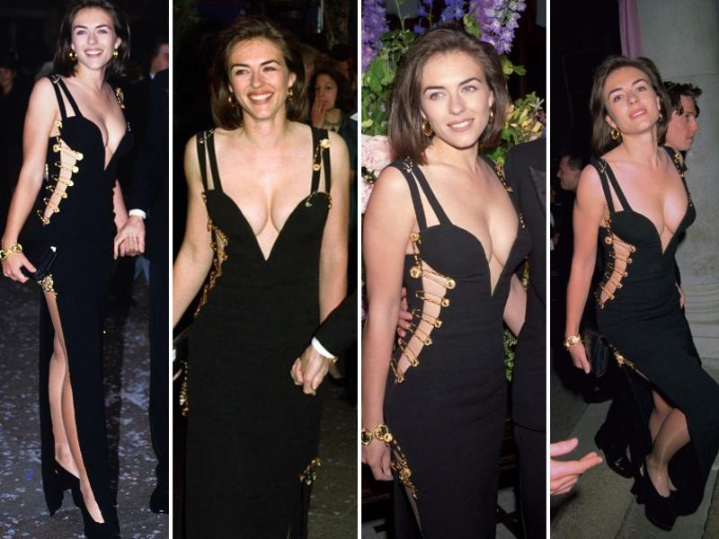 Here are a few pictures from the archive: All cutaway dresses owe their allegiance to Liz Hurley's safety pin dress. The Versace LBD she wore to the Four Weddings premiere in 1994 made her a household name overnight. (Pinterest)