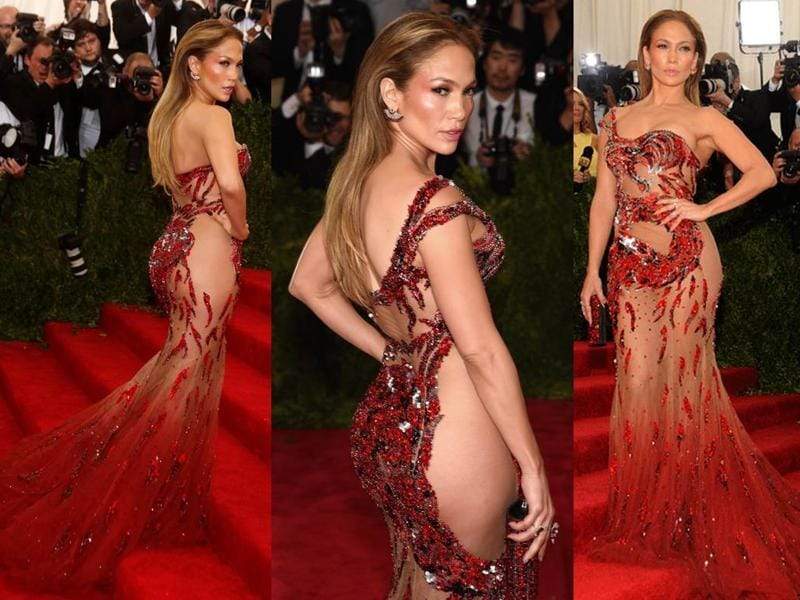 J-Lo is queen of the sheer, in this barely there dress she wore at the Met Gala. (Instagram/ Pinterest)