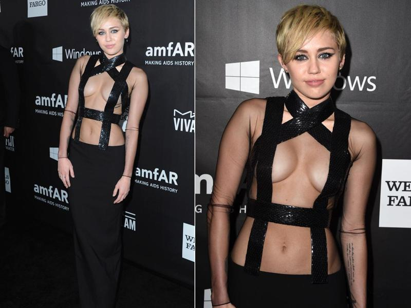 Miley Cyrus at the amFAR Inspiration Gala: All credit to Miley for managing to make this look elegant. (Instagram/ Pinterest)