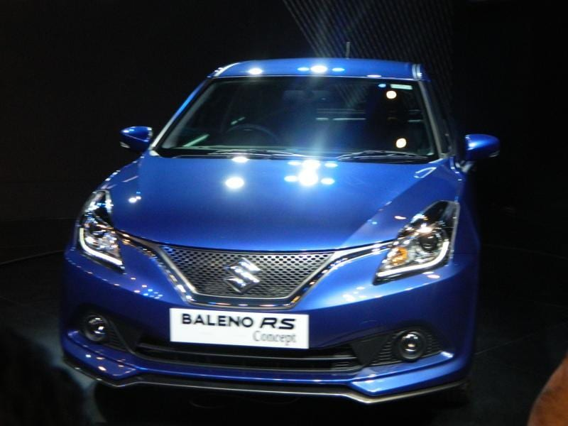 After achieving great success with the premium hatchback Baleno, Maruti Suzuki unveiled the  Baleno RS concept at the Delhi Auto Expo. Baleno RS is a hotter version of the hatch which comes in 1.0-litre boosterjet engine and is built on a completely new platform. (Gulshankumar Wankar/ HT Photo)