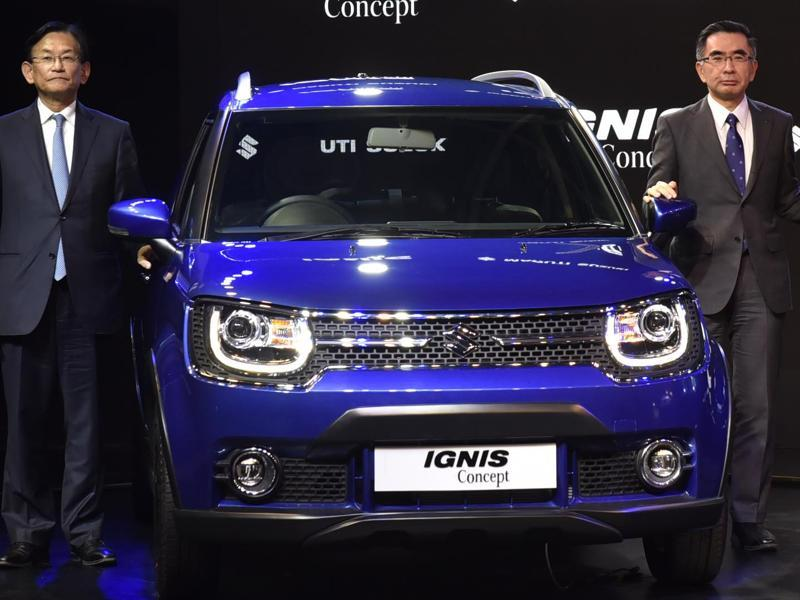 Maruti Suzuki India's another new baby-SUV Ignis was also unveiled at the Transformotion pavilion in hall number 7. The car is based on Maruti Suzuki's all new platform. (Ravi Choudhary/ HT Photo)