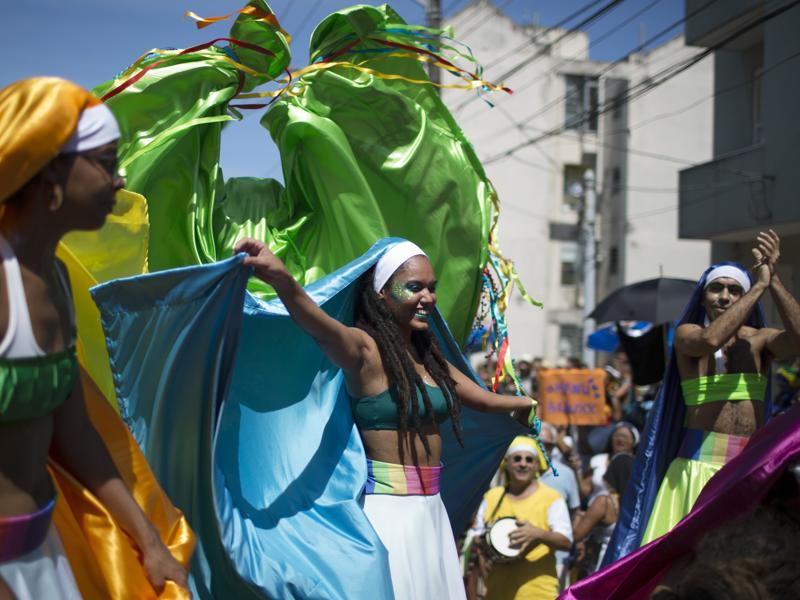 Revellers perform at the 'Carmelitas' block party during Carnival celebrations in Rio de Janeiro, Brazil. (AP)