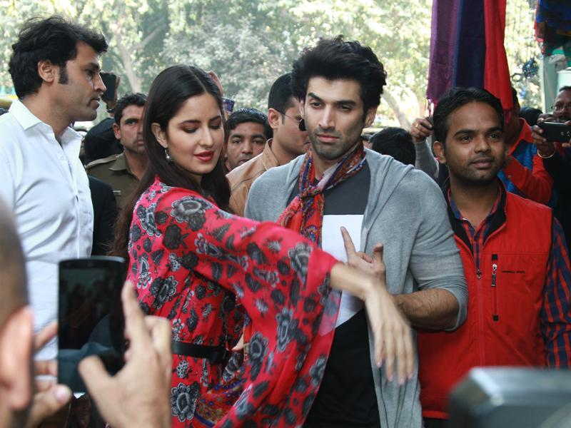 Fans clicked pictures as Katrina Kaif and Aditya Roy Kapur went on a shopping spree at Janpath market in Delhi on Saturday. (PHOTO: WASEEM GASHROO/HINDUSTAN TIMES)