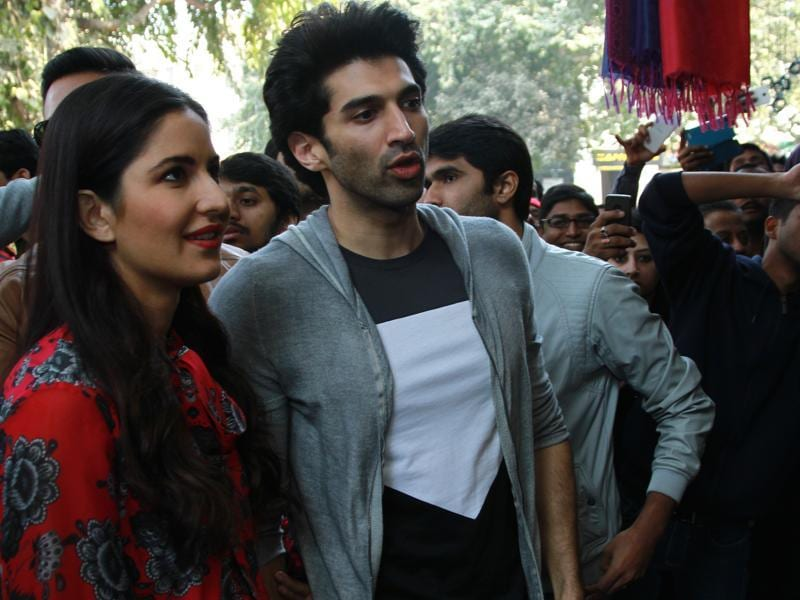 How can you not bargain at Janpath market (Delhi)? Even if the shoppers are Bollywood stars Katrina Kaif and Aditya Roy Kapur who are shopping? (PHOTO: WASEEM GASHROO/HINDUSTAN TIMES)