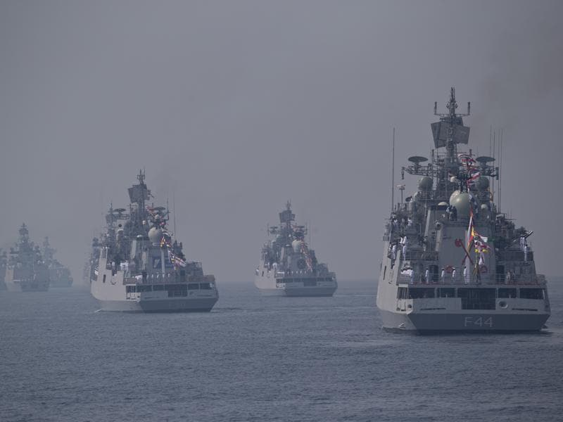 Different warships are seen during the International Fleet Review in Vishakapatnam. (AP Photo)