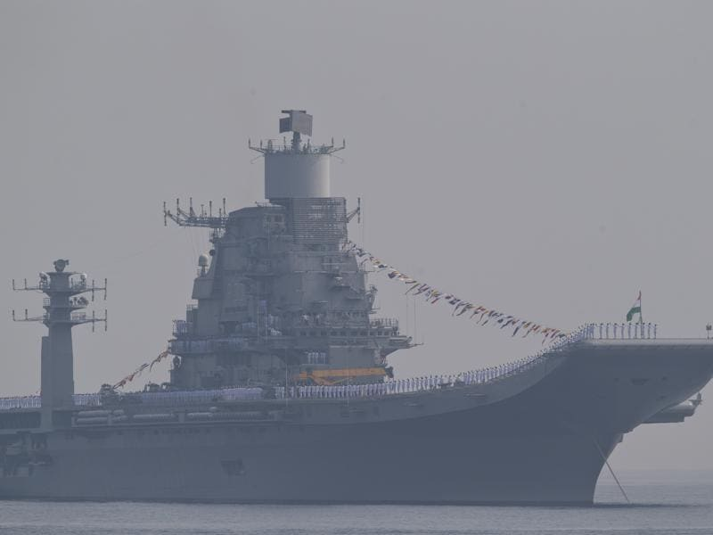 Indian aircraft carrier Vikramaditya is seen during the International Fleet Review in Vishakapatnam. (AP Photo)