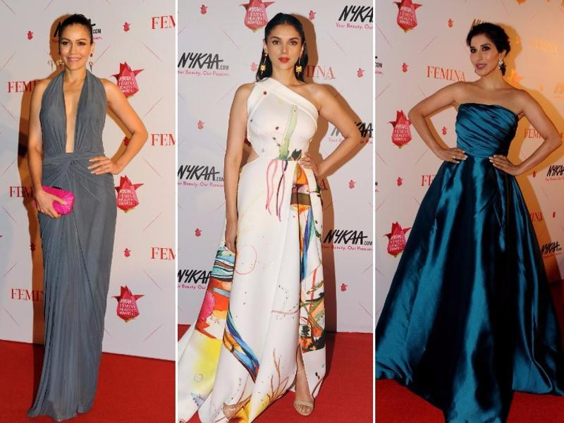 Meanwhile, here are all the other stars and their show-stopping styles that made the cut in our round-up of the best dresses at Femina Beauty Awards.  Who has your vote as the sexiest lady in gown (From left):  Waluscha D'Souza,  Aditi Rao Hydari  and Sophie Choudry? (AFP)