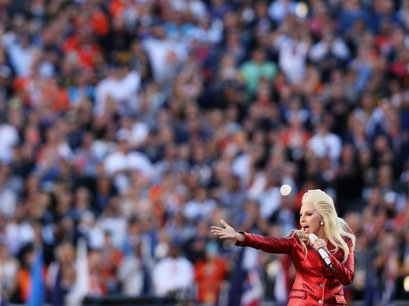 Lady Gaga performs during Super Bowl 50 between the Denver Broncos and the Carolina Panthers at Levi's Stadium. (AFP Photo)