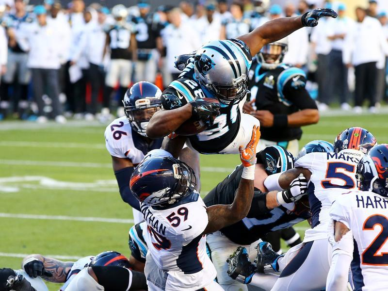 Jonathan Stewart #28 of the Carolina Panthers scores a touchdown against the Denver Broncos. (AFP Photo)
