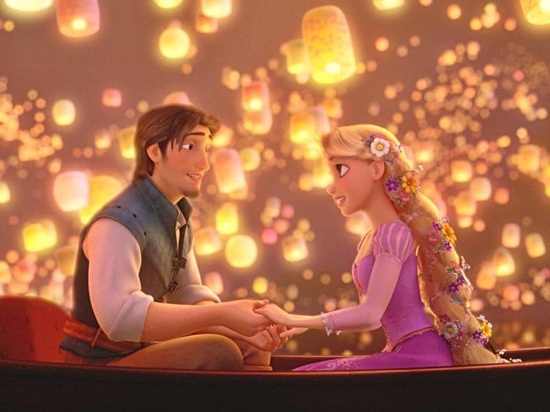 """And at last I see the light, it's like the fog has lifted."" Rapunzel and Flynn learn that they are each other's new dream in Tangled. What more beautiful moment to confess love than sitting in boat, surrounded by hundreds of floating lanterns.  (YouTube)"