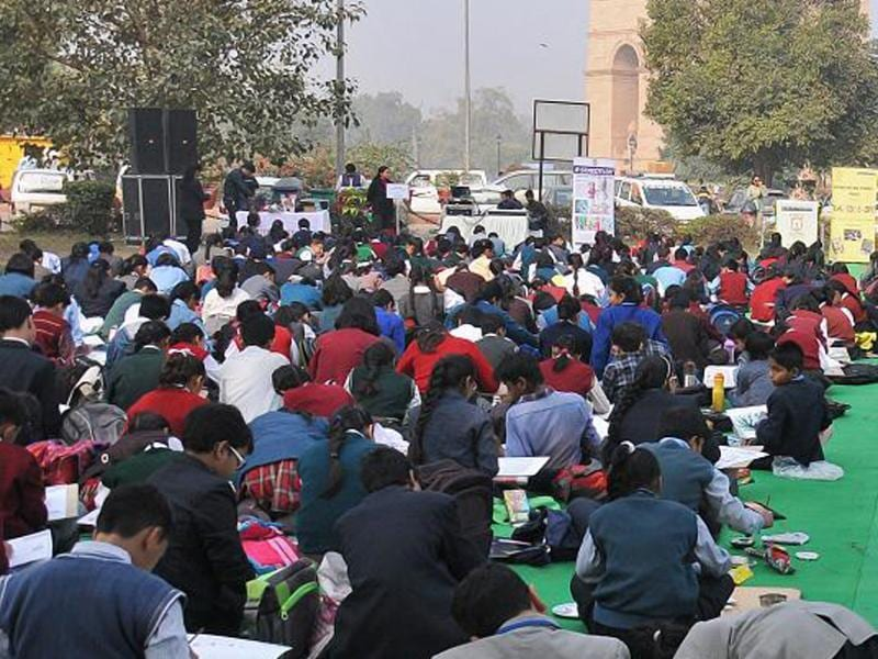 In its continuous effort to sensitise students towards meaningful issues, HT-PACE (Partnerships for Action in Education) organised Annual Inter-School Painting Competition 'Kaleidoscope' at the India Gate Lawns, New Delhi. (HT PACE)