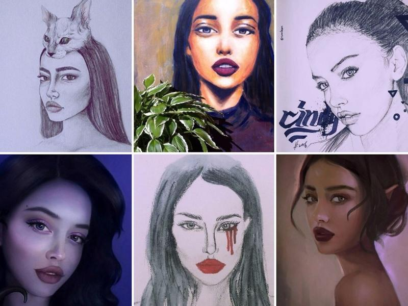 When she's not posting selfies to her Instagram page, Kimberly spends much of her time posting photos of the portraits that her followers do of her. She's also posted some of her own self-portraits. (Instagram)