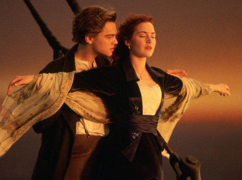 """Come, Josephine, in my flying machine, going up, she goes up, up she goes."" Seriously, how many times have you recreated this scene? Titanic was romantic and tragic, two things that make a love story immortal. We wish you never let Leo go, Kate. (YouTube)"