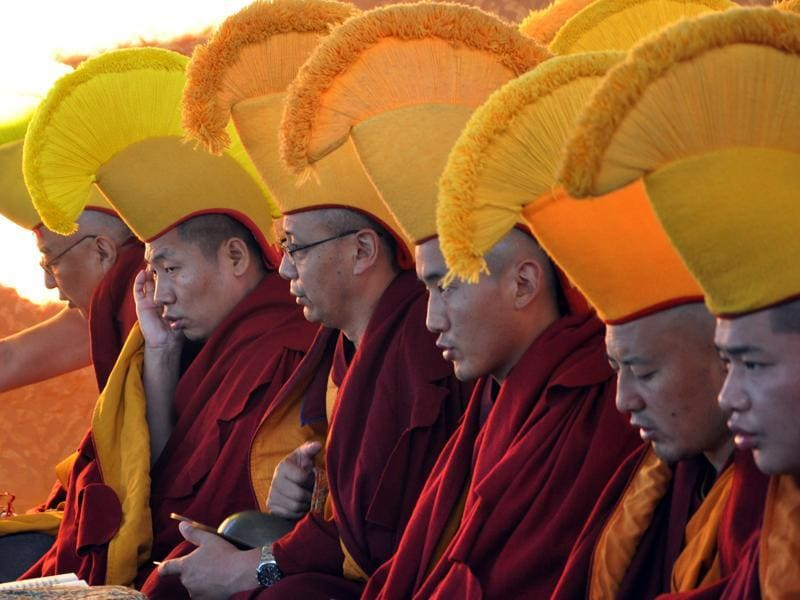 Buddhist monks during a prayer session on the first day of Losar at McLeodganj near Dharamsala on Tuesday. (Shyam sharma/Ht Photo)
