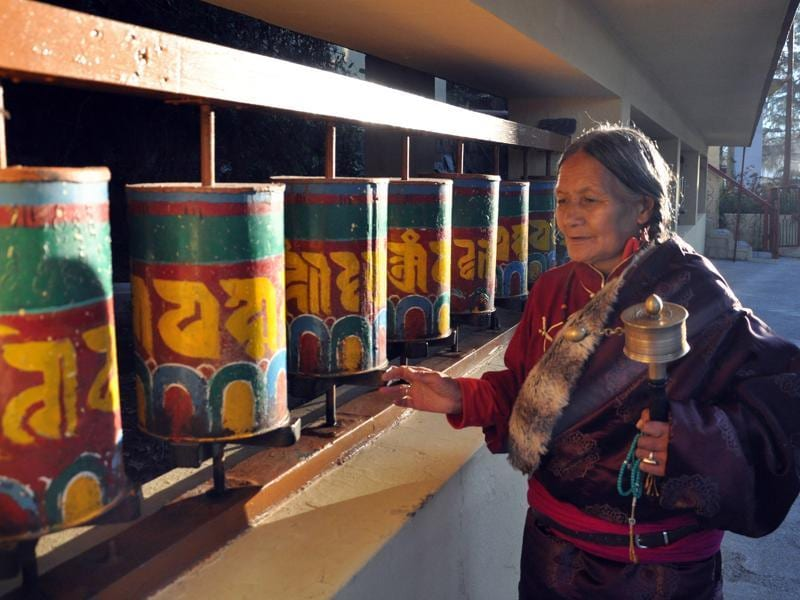 An old lady spins the traditional Buddhist prayer wheel during a prayer session on the first day of Losar (Tibetan New Year) at the Tibetans' main temple of Tsuglagkhang at McLeodganj on Tuesday. (Shyam sharma/Ht Photo)