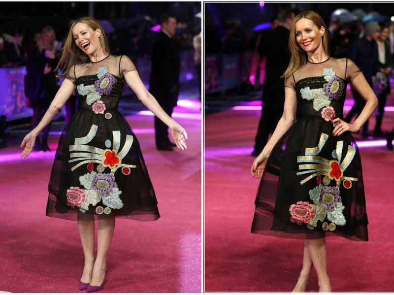 Knocked Up and This is 40 star Leslie Mann twirls at the red carpet premiere of How to be Single in London. (Reuters)
