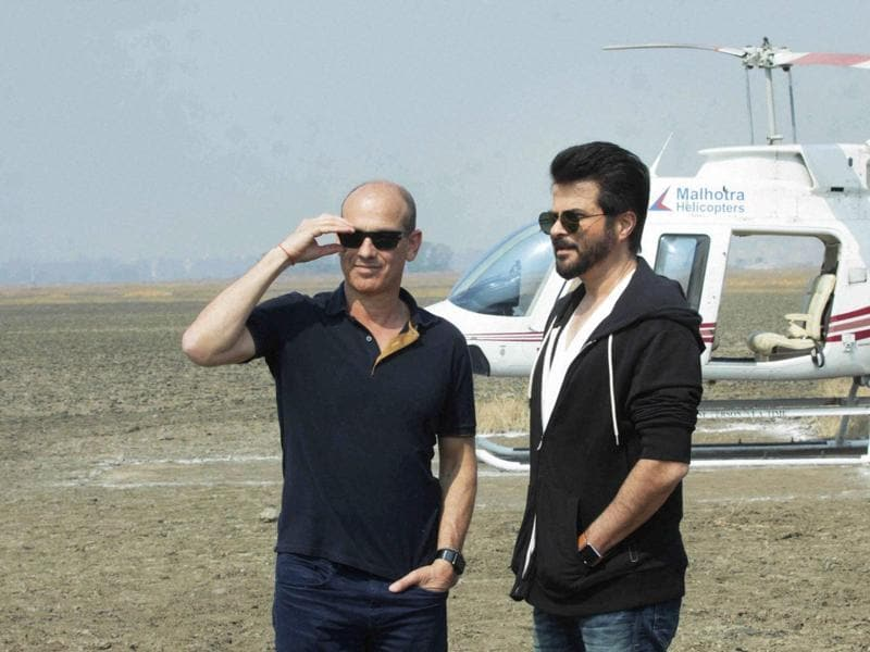 Bollywood actor Anil Kapoor and American Television Writer and Producer Howard Gordon during the on location shoot of his Hindi version of 24 Season 2 directed by Abhinay Deo.  (PTI)