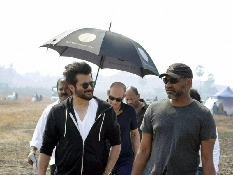 Anil Kapoor and his crew on the sets of second season of TV show 24 in Mumbai.  (PTI)