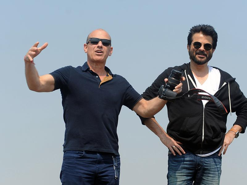 US television writer and producer Howard Gordon and Anil Kapoor on  the sets of 24 in Mumbai on February 9, 2016.  (AFP)