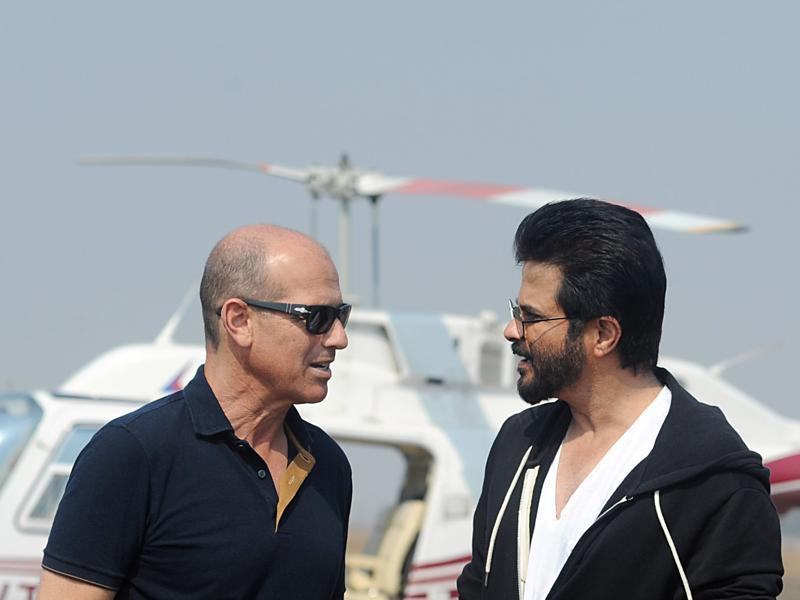 Writer-producer Howard Gordon and actor Anil Kapoor on the sets of second season of the hit counter terrorism show 24. (AFP)