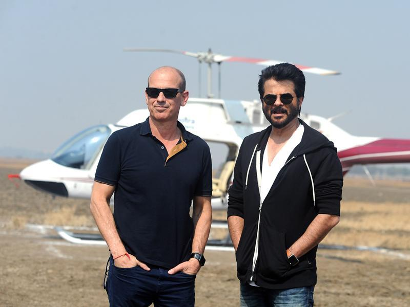Producer Howard Gordon and Anil Kapoor on location for the second season of Indian version of the TV show 24 in Mumbai. (AFP)