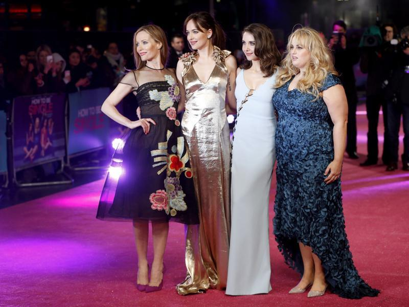 Cast members Leslie Mann, Dakota Johnson, Alison Brie and Rebel Wilson pose for photographers at the European premiere of the film How to be Single.  (REUTERS)