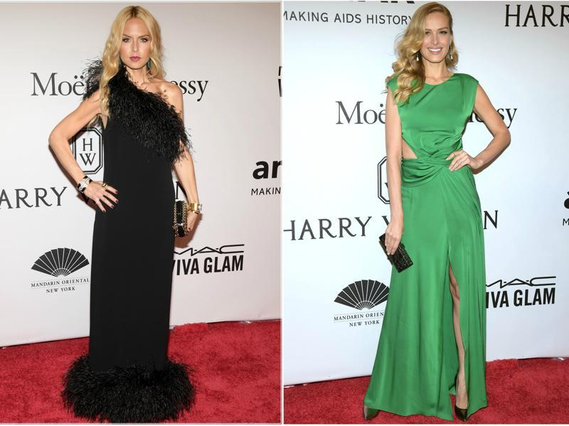 Rachel Zoe and supermodel Petra Nemcova steal the amfAR rally red carpet in New York.