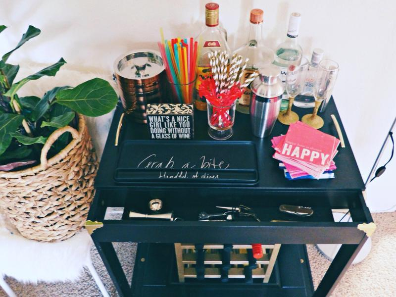 The ultimate bar cart. Every fashion girl worth her salt seems to have a stocked bar cart in her home. Who can blame them? A bar cart is a great way to add a pop of colour into a living room, and it also makes for a great storage solution.  (PINTEREST)
