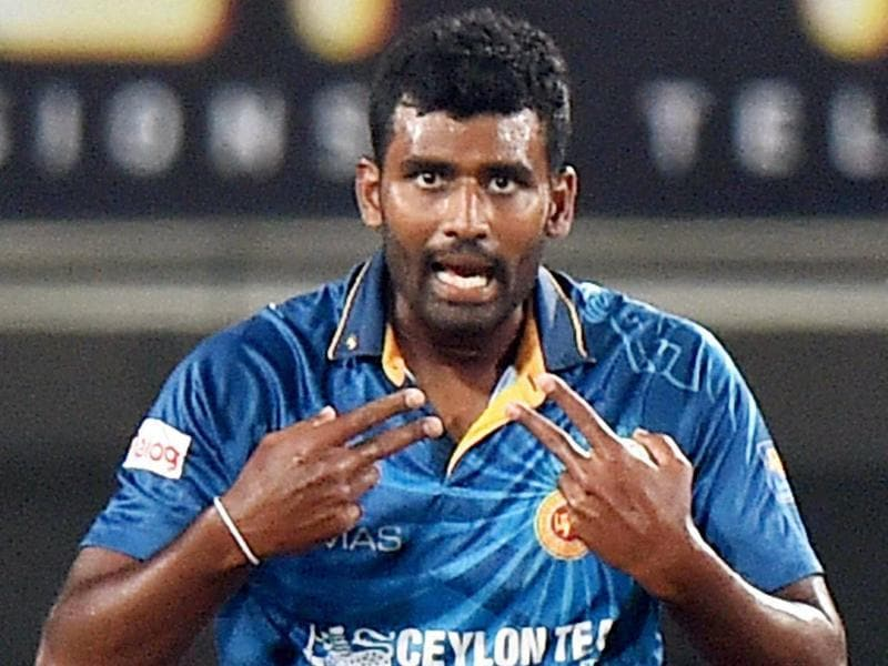 Sri Lankan bowler Thisara Perera celebrates after his hat-trick against India. (PTI Photo)