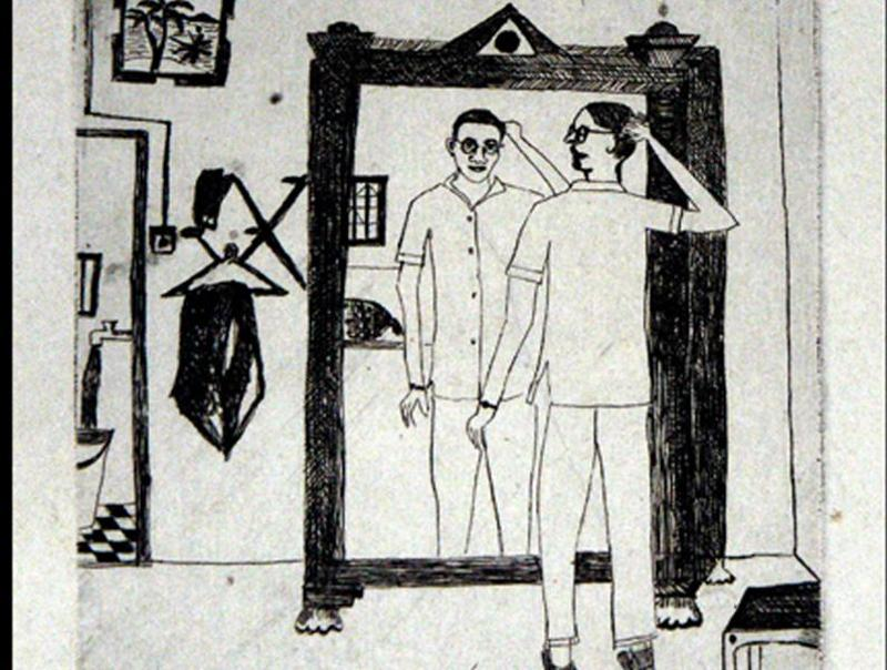 An etching at the exhibition. (NGMA)