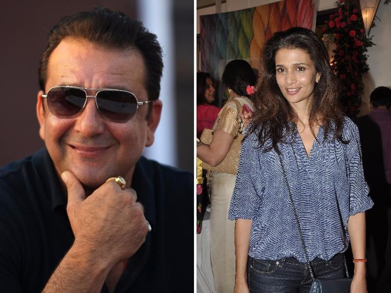 The handsome hunk of B-town Sanjay Dutt, married his long-time sweetheart, Rhea Pillai at a Mumbai temple in a secret wedding on the Valentine's Day in 1998. However, they got separated after a few years.  (FILE PHOTO)