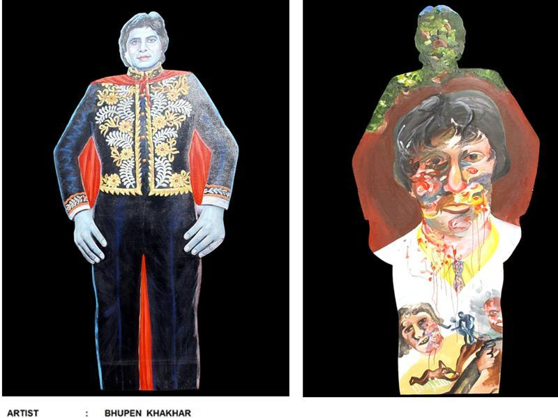 An Amitabh Bachchan cutout at the exhibition being held at National Gallery of Modern Art to showcase the intimate world of Baroda artist Bhupen Khakhar. (NGMA)