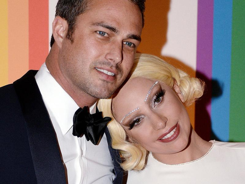 Lady Gaga and her actor boyfriend Taylor Kinney got engaged on Valentine's Day in 2015. He popped the question with a huge heart-shaped diamond ring.  (AP)
