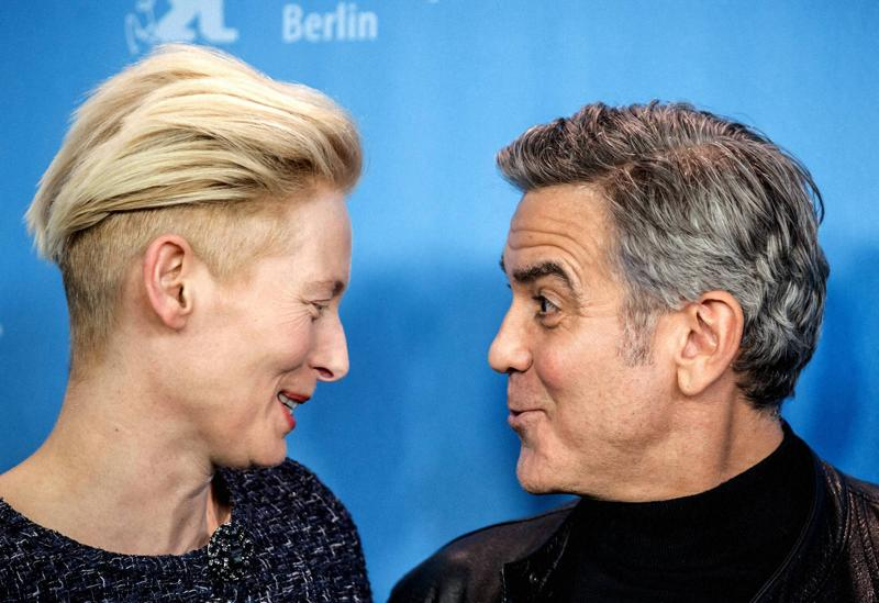 Here, the actor poses with Tilda Swinton at a photo call for the movie ·Hail Caesar!  (AP)