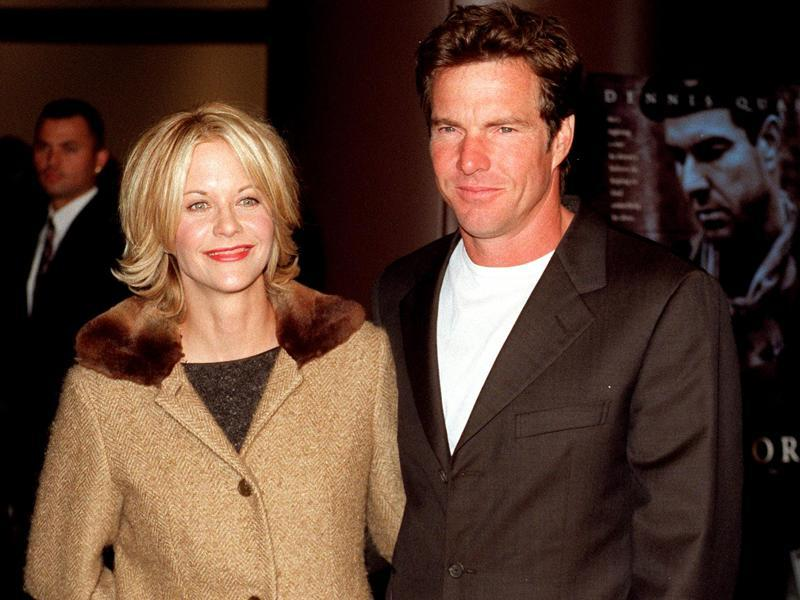 Meg Ryan married actor Dennis Quaid on Valentine's Day in 1991 after doing three movies together. The couple revealed that they fell in love during their second movie. Both Ryan and Quaid have a son named Jack Quaid, who was born in 1992. The couple separated in 2001. (TWITTER)