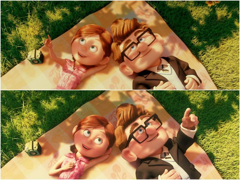 """Thanks for the adventure. Now go have one of your own. I love you, Ellie"" With Up, there is not just one romantic scene, it is the entire first 15 minutes of the movie. The beautiful story of how Carl and Ellie meet as kids and live a life together. No matter how many times you have watched it, it will bring tears to your eyes every time you watch it.   (YouTUBE)"