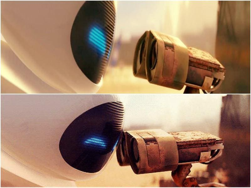 'Eva!' Love knows no boundaries or restrictions and is definitely not just for humans, as we were taught by Wall-e. The cleaner robot falls in love with more hi-tech robot Eva and they give us one of the most adorable love stories of Hollywood. This is how they 'kiss', by touching their heads. (YouTube)