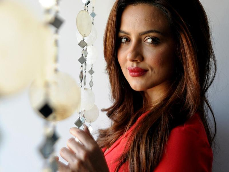 Model and actor Sana Khan poses for a photograph during a promotional event in Mumbai. (AFP)
