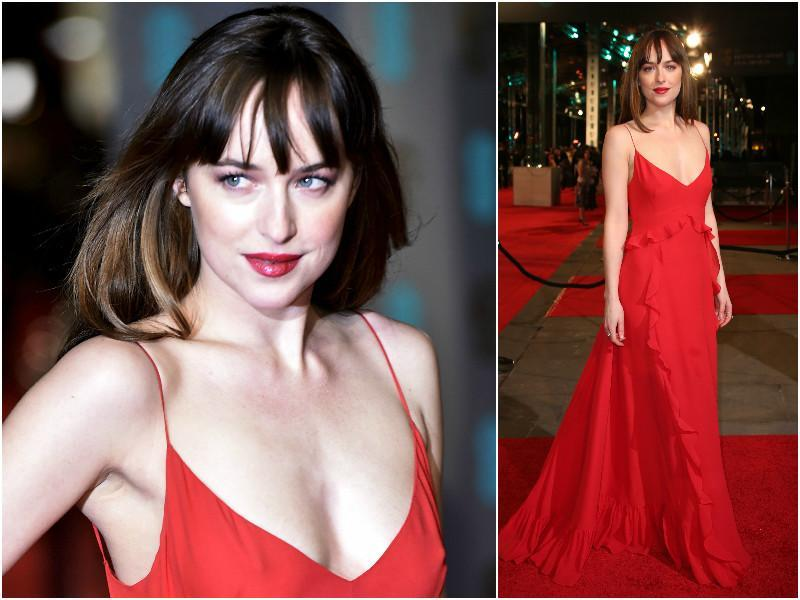 Dakota Johnson was definitely looking the best of the whole lot at the BAFTA Awards in London on Sunday.  She wore an amazing red gown with spaghetti straps with her gorgeous, dark bangs. (Agencies)