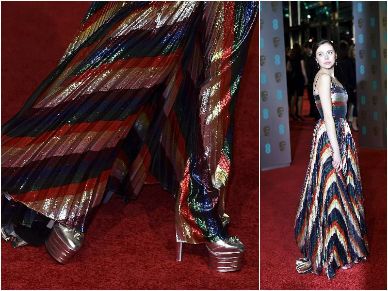 Bel Powley wore a shiny montage of colours with shoes straight out of a sci-fi movie. (Agencies)