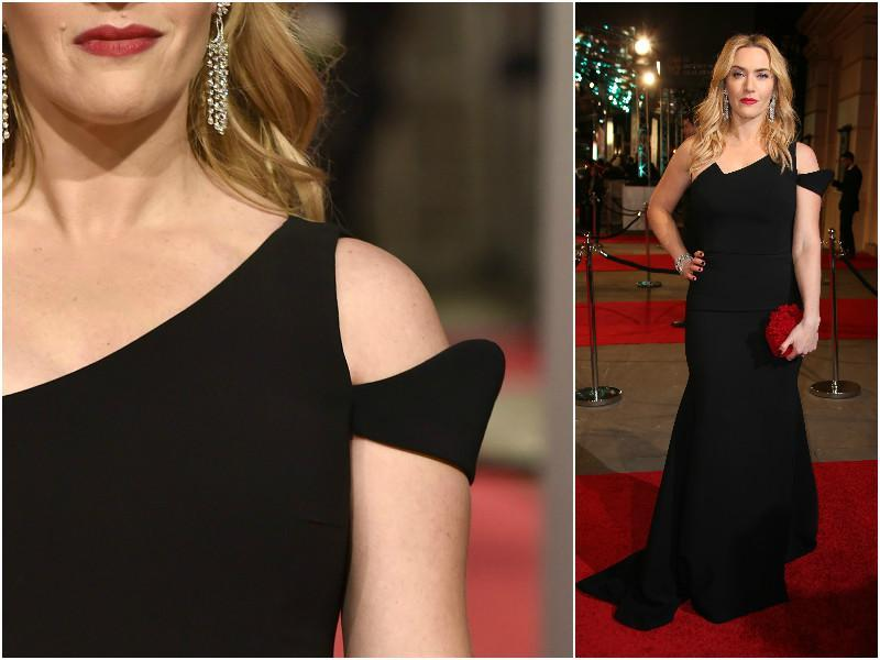 Kare Winslet decided to let her hair down for the evening. She wore a gorgeous black dress with great shoulder detailing. (Agencies)