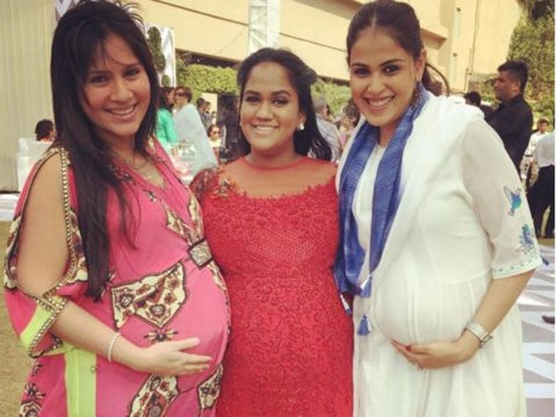 Genelia D'Souza, Arpita Khan and Kanchi Kaul celebrate motherhood at Arpita's baby shower on Sunday. (Instagram)