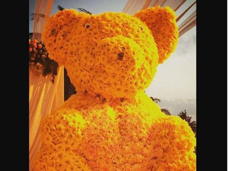 A floral bear was part of the decorations at Arpita's baby shower celebrations. (Instagram)