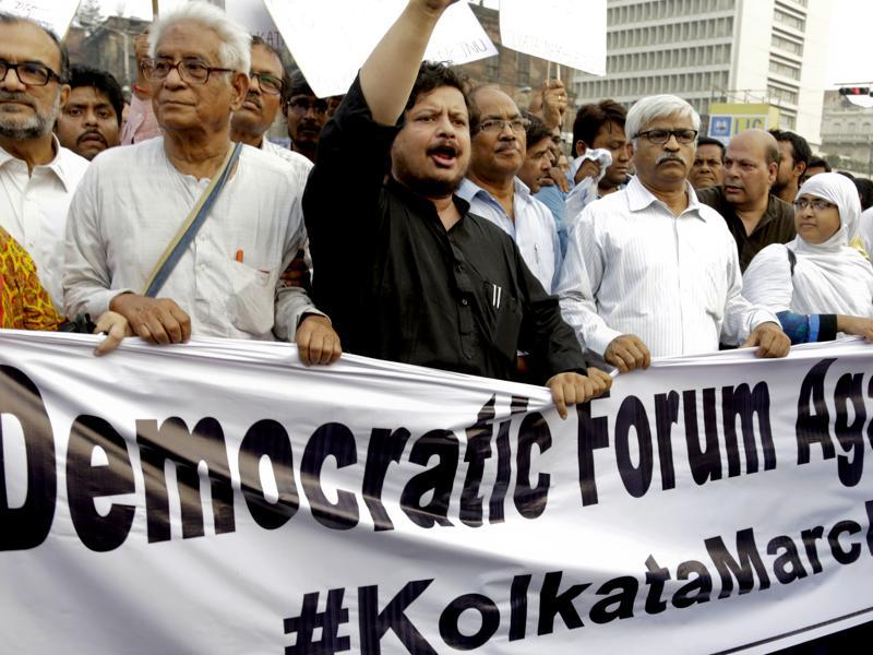 In Kolkata, leaders and supporters of Left parties and Congress during a protest march against the arrest of Kumar on Monday.  (AP)